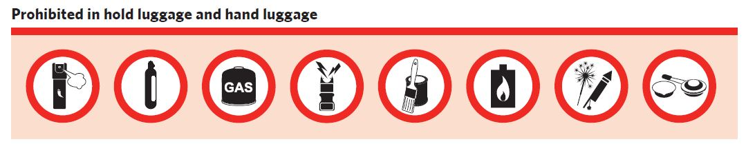 Prohibited in hold luggage and hand luggage: ...